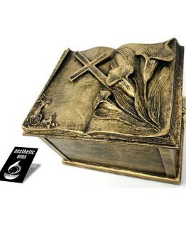 Composite Stone Urn Book with Calla Lily and Cross
