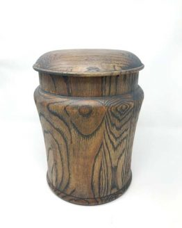 Round Pepperpot Solid Oak Classic Urn For Ashes