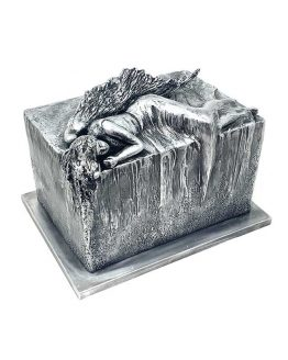 Resting Angel Artistic Urn for Ashes Silver