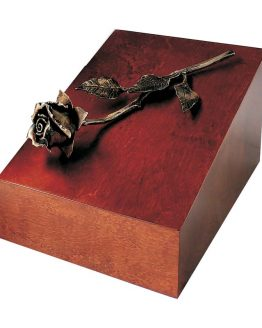 Elegant Cremation Walnut Casket With Copper Rose