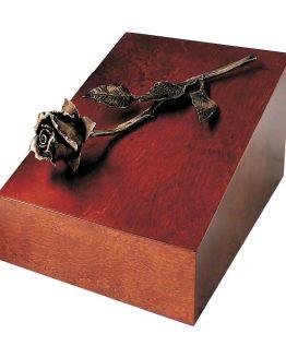 Elegant Cremation Walnut Casket With Copper Rose