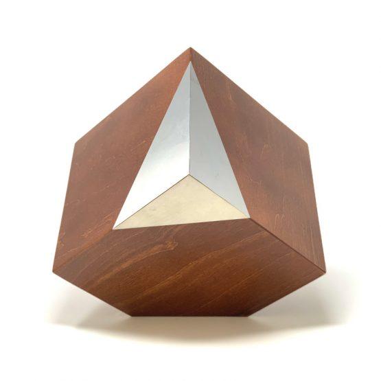 Tilted Cube With Metal Corner Modern Memorial