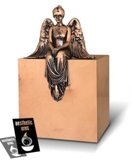 Contemplating Angel Artistic Urn for Ashes Walnut Copper