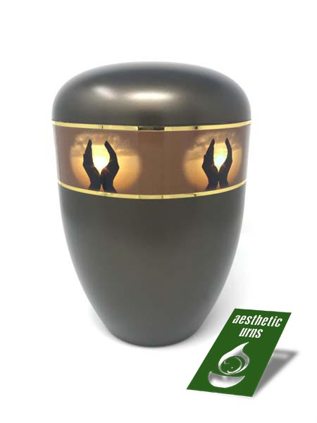 Eco Cremation Urn for Ashes Hands Brown