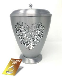 Silver Metallic Urn Tree of Life