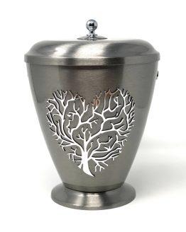Silver Metallic Urn Tree of Life