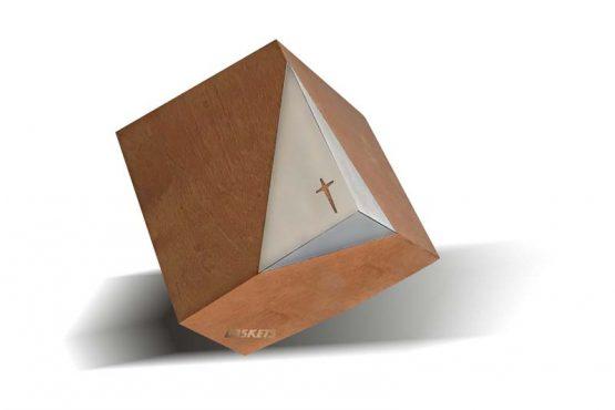Tilted Cube Cross Funeral Casket