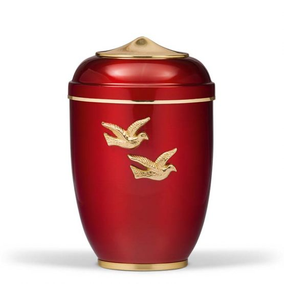 Steel Red Funeral Urn for Ashes