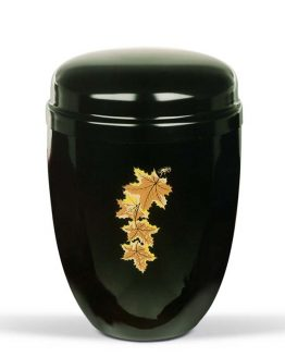 Black Steel Urn With Maple Leaves