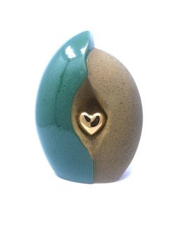 Ceramic Green urn with heart