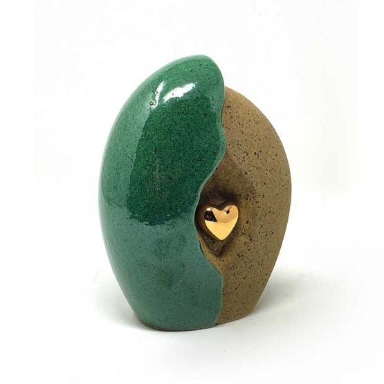 Ceramic Heart in a Shell Green