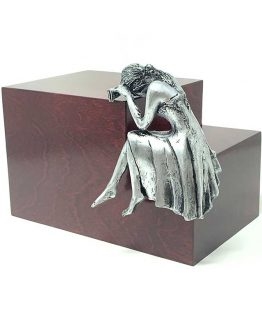 Weeping Woman Adult Cremation Urn Mahogany Steel