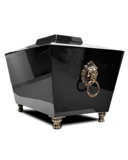 Lion Head Cremation Casket Adult Urn Black