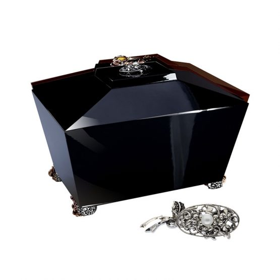 Full Gloss Cremation Casket in Black with Pearl Brooch