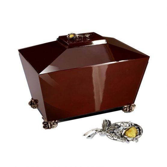 Full Gloss Cremation Casket in Dark Brown with Amber Rose