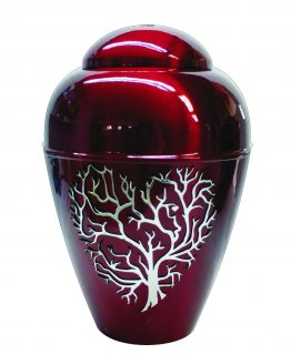 Metal Urn Tree Of Life Red