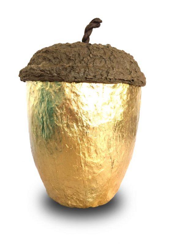 Acorn Bio Urn for Ashes in Dutch Gold Foil