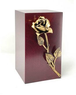 Wooden Urn with Rose