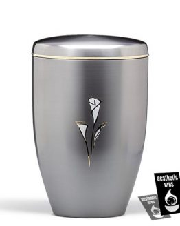 Cremation Urn with painted Lily