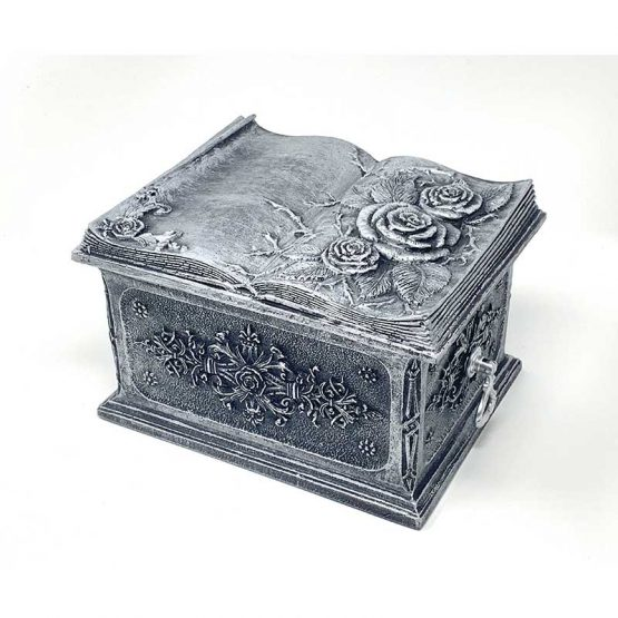 Carved Flowers Funeral Casket Silver