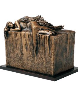 Resting Angel Outdoor Cremation Urn Bronze