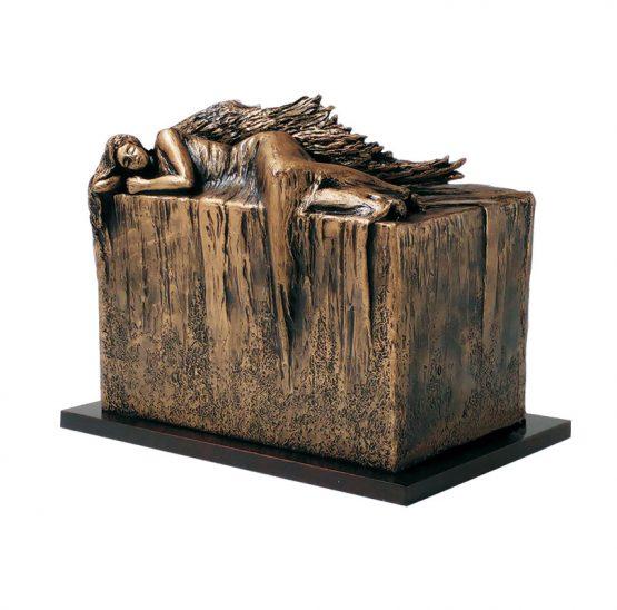 Resting Angel Outdoor Cremation Urn Bronze
