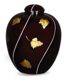 Resin Cremation Vase with Leaf Brown