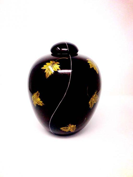 Resin Cremation Vase with Leaf Brown
