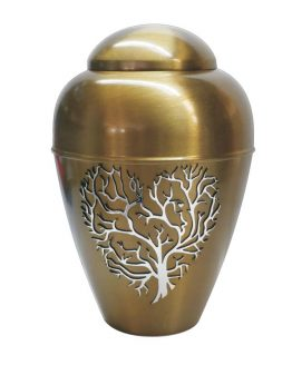 Metal Urn Tree Of Life Gold
