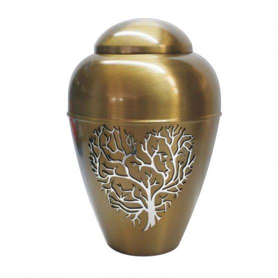 Metal Urn Tree Of Life Gold