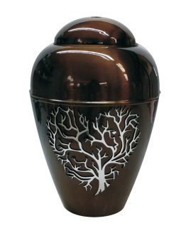 Metal Urn Tree of Life Brown