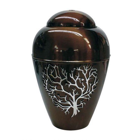 Metal Urn Tree of Life Brown