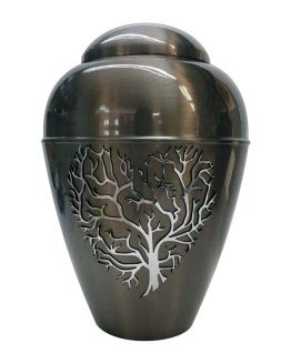 Metal Urn Tree Of Life Grey