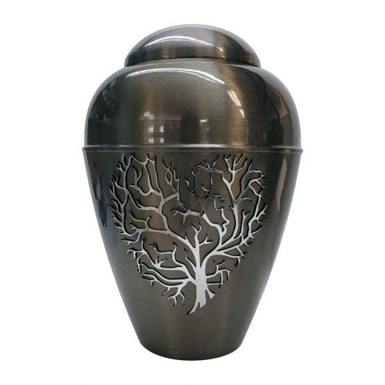 Metal Urn Tree Of Life Grey