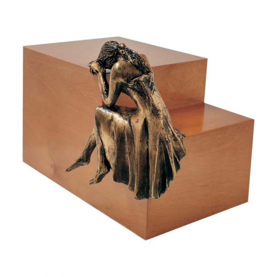Weeping Lady Urn For Ashes Light Walnut with Figurine