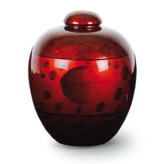 Resin Cremation Urn with Leaf Red