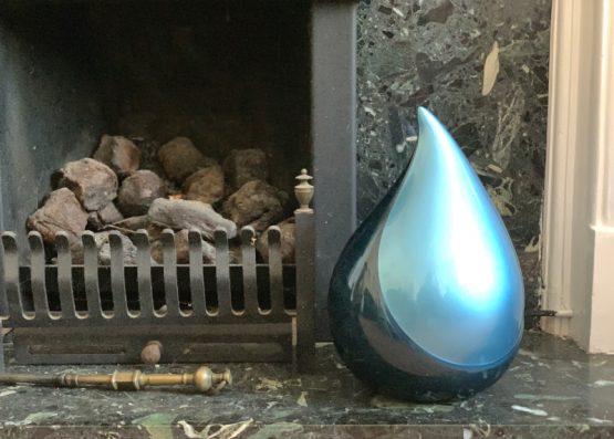Fibreglass Teardrop Urn for Ashes Blue
