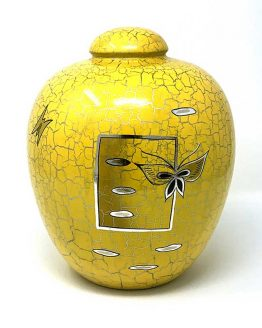 Resin Cremation Urn For Ashes Butterfly Yellow