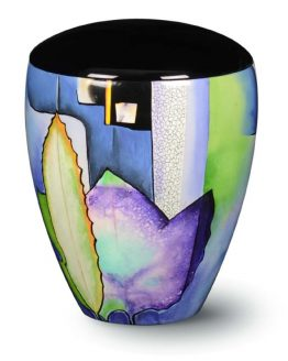 Fibreglass Hand-Painted Urn for Ashes Colour Blue