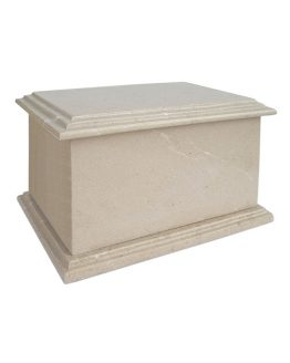Stone Cremation Casket for Ashes in White Cream