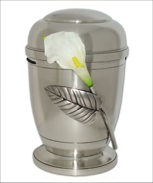 Silver Pewter Cremation Ashes Urn Human Ashes Lily