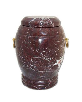 Stone Cremation Urn for Ashes in Dark Burgundy