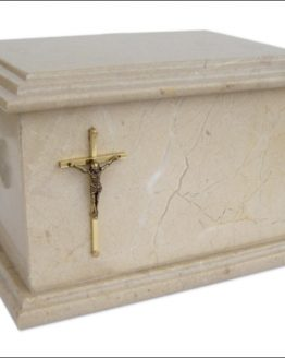 Stone Cremation Casket for Ashes in Grey with Cross