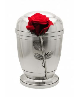 Silver Pewter Cremation Ashes Urn Human Ashes Velvet Rose