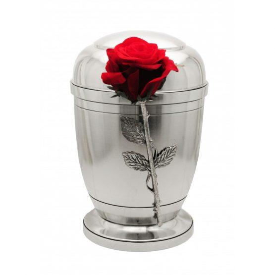 Silver Pewter Cremation Ashes Urn Human Ashes Velvet Rose