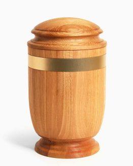 Solid Oak Cremation Urn Metallic Gold Stripe