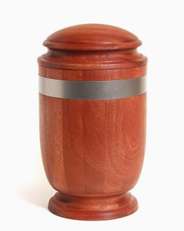Mahogany Cremation Ashes Urn Silver Metallic Stripe