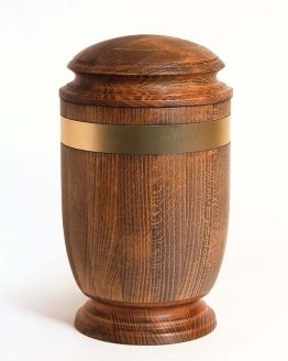 Solid Beech Cremation Ashes Urn Gold Metallic Stripe