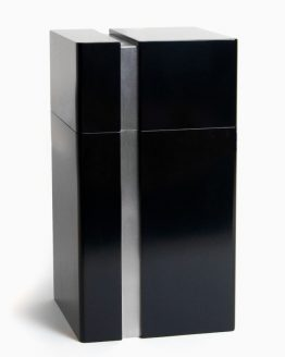 Modern Design Cremation Urn for Ashes Lines Black