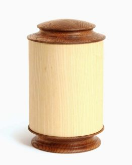 Round Shaped Wooden Ashes Urn Narrow Top